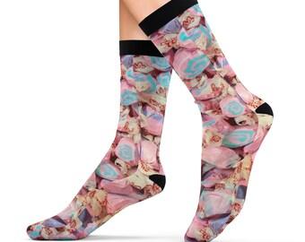 Salt Water Taffy Candy Treats Printed Sublimation Socks Footwear