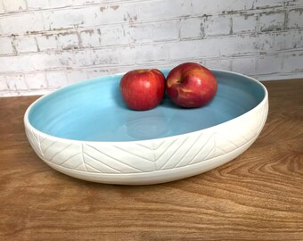 modern wheel thrown pottery bowl - large ceramic bowl - made to order - customize size, size color, and monogram - modern - minimalist