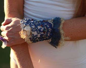 Blue vintage lace beaded cuff, boho beaded cuff, festival embroidered cuff, textile bracelet, fiber art cuff, gypsy tattered lace cuff