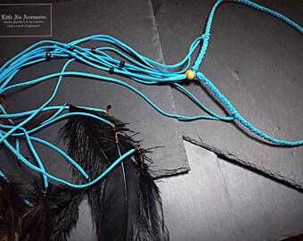 Faux Suede Braided Head Tie, Boho Feather Headband, Adjustable Head Tie, Festival Headpiece, Womens Bohemian Hippie Jewelry Gifts For Her