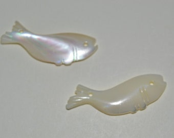1960's Vintage Authentic Mother of Pearl 2 Hole Fish Charm/Pendant - Lot of 2 (1060097)