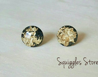 Black Gold Leaf Faceted 12mm Stud Earrings Hypoallergenic Posts Sensitive Ears
