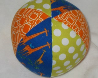 Blue Giraffes  Fabric Boutique Ball Rattle Toy - SALE