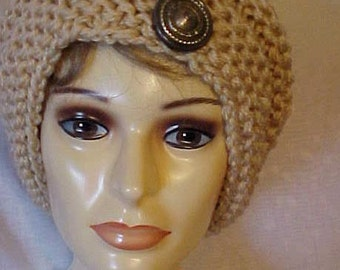 COWL/HEADBAND Combo~HANDKNIT~Adourned with 3 Buttons~Can Be Used Either Way~Smart~Chic~Handy~Cozy & Warm~~Winter Wardrobe Attire~Cute