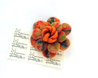 felted wool brooch Orange FLOWER  - Ready to Ship Now - Gift under 50 USD