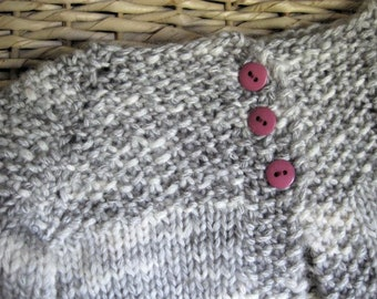 Hand Knitted Gray Baby Girl Cardigan Sweater