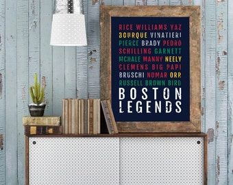 Boston Legends Print - Patriots Man Cave Poster - Boston Celtics Print Red Sox Boyfriend Gift Bruins Wall Art Husband Gift - Wall Art & Items similar to Boston Fan Dresser Great Sturdy Drawers Solid Wood ...
