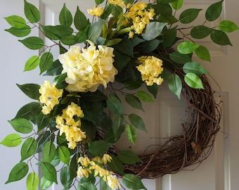 Yellow Hydrangea Wreath, Large Door Wreath, Summer Wreath, Yellow Green Handmade Wreath, Door Wreath