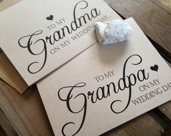 To my GRANDMA or GRANDPA on my wedding day - Special THANKS - Notecard - Recycled - Eco Friendly