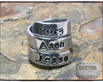 Hand stamped triple wrap name ring