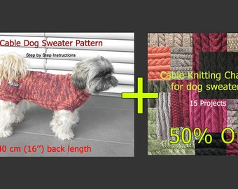 """Set of two PDF manuals: Dog Sweater Pattern - 40 cm (16"""") back length & a collection of Cable Knitting Charts for Dog Sweaters"""