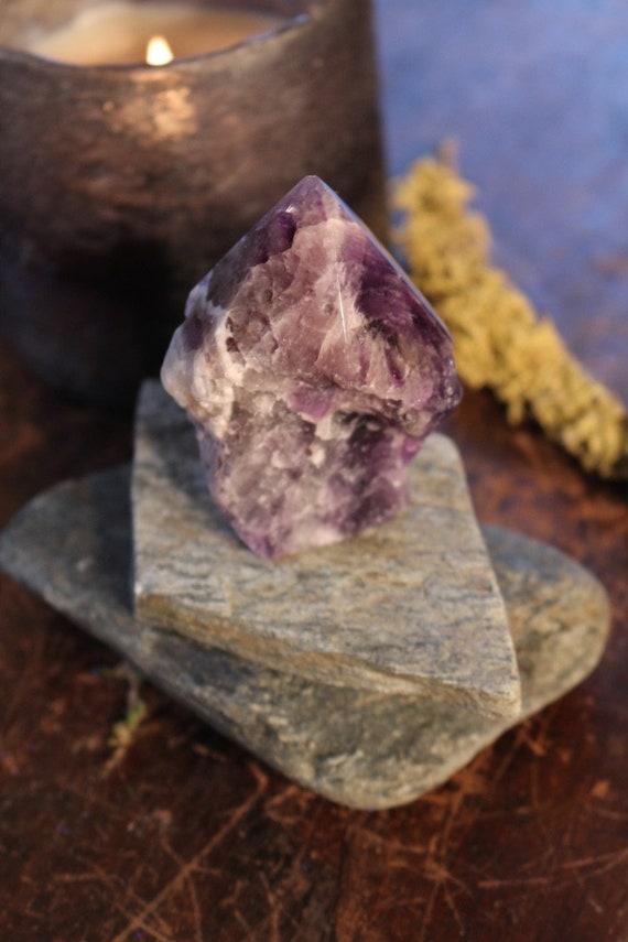 "Chevron Amethyst Point 3"", Standing Chevron Amethyst, Natural Amethyst, Polished Amethyst Point, Purple Crystal Point, Crystal Grid, Reiki"