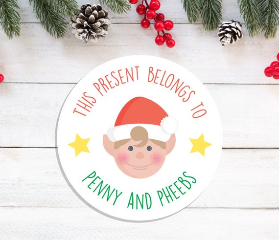 Personalised christmas stickers santas elf stickers kids christmas present stickers christmas gift wrap festive stickers
