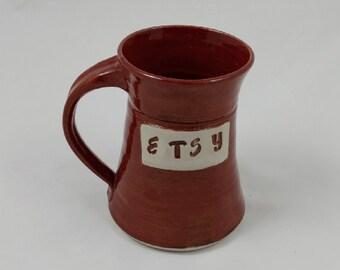 Etsy Mug Cinnamon Red Pottery Handmade by Daisy Friesen