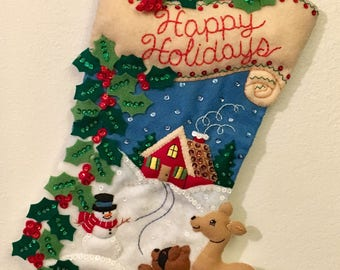"""Bucilla 18"""" Woodland Holidays Christmas Stocking"""