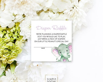 INSTANT DOWNLOAD Elephant Baby Shower Diaper Raffle insert Purple Boho Elephant Jungle Watercolor Calligraphy PRINTABLE