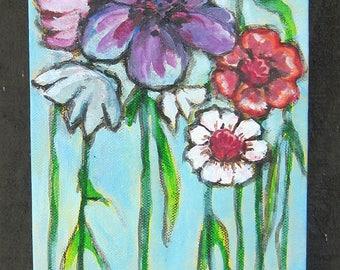 Mixed Media Flower Painting; Flower Garden Art