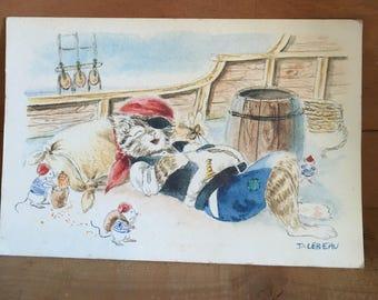 Watercolour Pirate Cat postcard