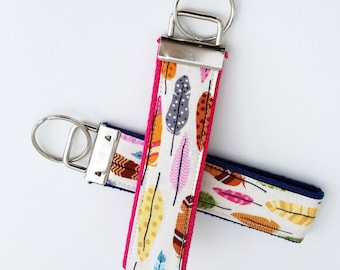 Keychain Wristlet Key fob - Feathers on Cream - Multicolored feathers, Nature inspired keychain