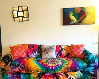 Tie Dye Couch Slipcover - Hippie Room - Tie Dye Home Decor - Tie Dye Couch - Rainbow Couch - Free Spirit - Rainbow Room