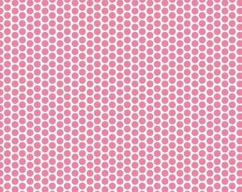 Pink and White Polka dots -  Riley Blake Designs Honeycomb Dot  100% Cotton