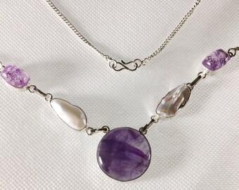 Handmade Amethyst and  Biwa Pearl Necklace Silver