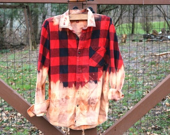 Flannel, plaid flannel, oversized flannel, Vintage clothing, flannel shirt, Street wear, ombre shirt , Vintage Shirt Large