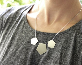 Statement necklace, Gift For Her, Sterling Silver Pentagon Necklace with A Snake Chain, Geometric Statement Necklace, Minimalist Necklace