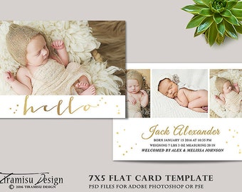 Birth Announcement Template , Photography 7x5in Template for Adobe Photoshop, sku ba16-4