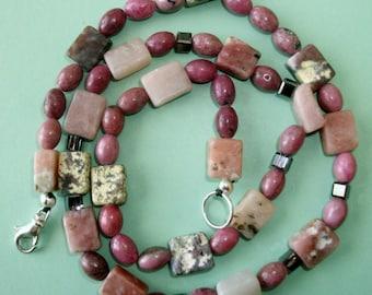 Gemstone Jewelry Necklace - Lepidolite, Rhodonite and Swarovski Crystal Gemstone Beaded Necklace