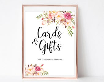 Cards and Gifts Sign Gift Table Sign Cards and Gifts Printable Wedding Sign Template Reception Sign Instant Download PDF 4x6, 5x7, 8x10