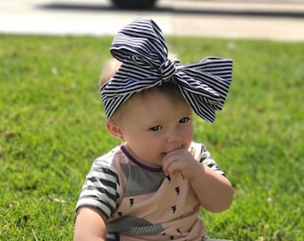 CLASSIC; black and white; stripes; headwrap fabric; toddler headband; baby headband; toddler headwrap; baby headwrap; black and white style