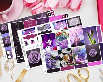 Purple Passion | Planner Sticker Kit for Erin Condren | Weekly Kit, Vertical Planner, Flowers, Tulips, Coffee, Tea, Balloons, Rose, Berries