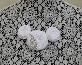 White Rosette Necklace with Sparkly Vintage Brooch on a Silver Chain