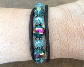 Leather Swarovski Beaded Magnetic Clasp Bracelet  FREE SHIPPING