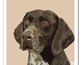 German Shorthaired Pointer Dog Illustration-Pop Art Print