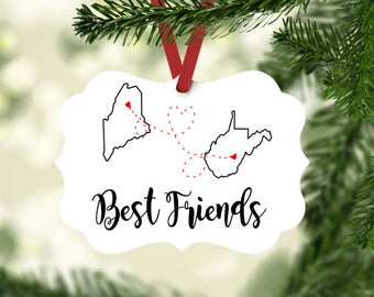 Best Friend Holiday Gift  - Christmas Gift for Friend - Custom Ornament - Distance relationship Ornament - State to state Christmas Ornament