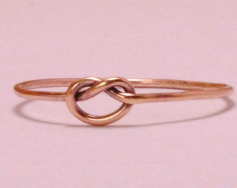 Rose Gold Knot Ring/ Rose Gold Friendship Ring/ Thin Rose Gold Ring/ Simple Rose Gold Ring/ Custom Teeny Weenie Tied Ring *Rose Gold Filled*