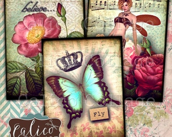 Printable, Digital, Collage Sheet, Fairy Forest, Printable Tags, Junk Journal Tags, Spring Ephemera, Card Making, Art Cards, Printable Cards