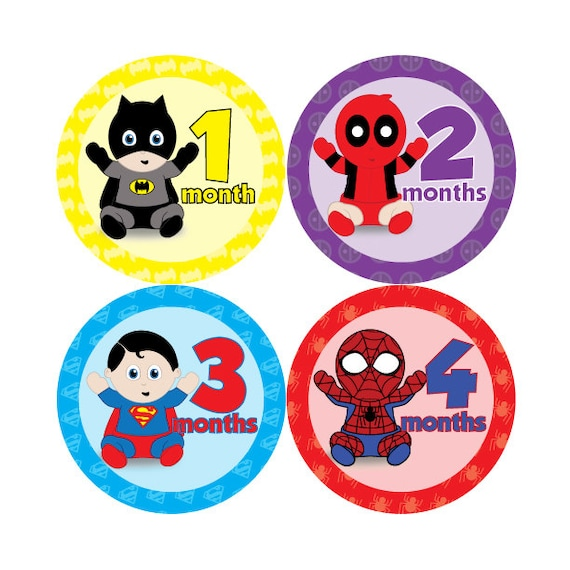 Baby monthly stickers super hero babies hard copy marvel dc superman batman wolverine avengers xmen spiderman black panther deadpool