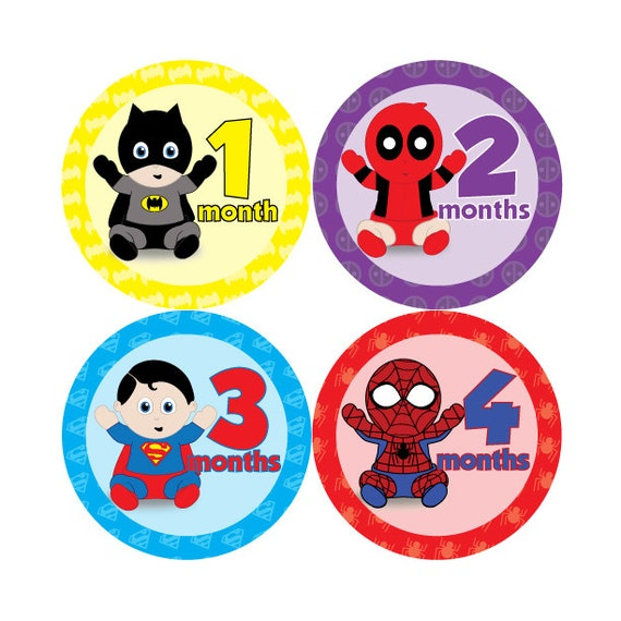 Baby monthly stickers super hero babies hard copy marvel dc superman batman wolverine avengers xmen spiderman black panther deadpool