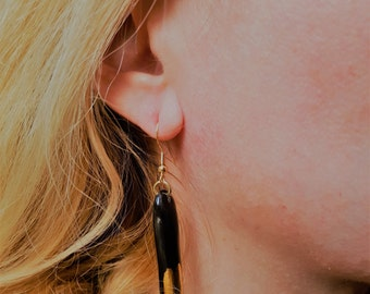 Earrings-handmade ceramic earrings V7 with pure gold