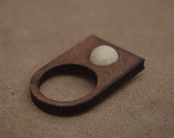 Handmade leather ring with stone