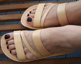 "Leather Sandals Strappy Greek Boho Flats Beach Wear Black Summer Shoes Slide In Gladiator Women Natural Co ""ADRASTEIA"""