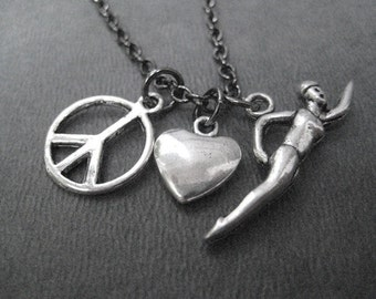 PEACE LOVE SWIM Swimming Necklace - Swim Jewelry - Gunmetal chain - Swim Team Necklace - Summer - Lake - Swimming - Swimmer - Love to Swim