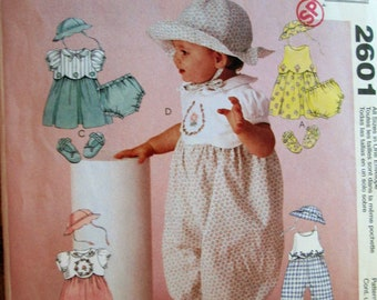 McCall's 2601 - Infant's Dress, Rompers, Hat, Shoes and Panties, Size S - XL