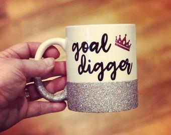 Glitter Coffee Mug with Goal Digger decal