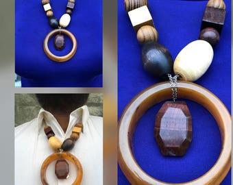 Wood, Lucite, & Quartz Necklace