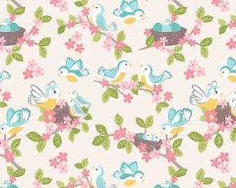 Quilting Cotton - Lewis & Irene - So Darling - Bluebirds on Cream - 1/2m piece