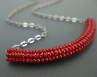 Tubular Herringbone Tube Necklace  / Thyroid Neck Scar Cover  / Seed Bead Pendant in Red / Beaded Pendant / Beaded Necklace / Beadwoven